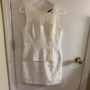 White Peplum Cocktail Dress with Mesh Top
